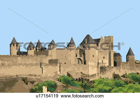 Stock Illustration of France, Carcassonne, UNESCO, World Cultural.