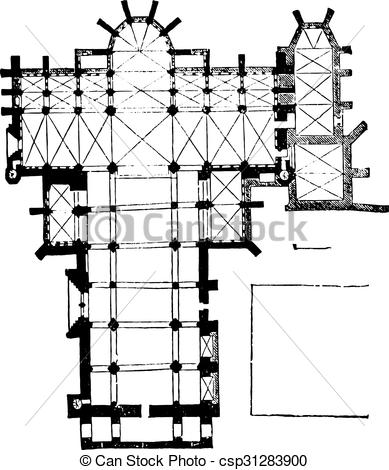 Vector Clipart of Plan of the cathedral of Carcassonne, vintage.