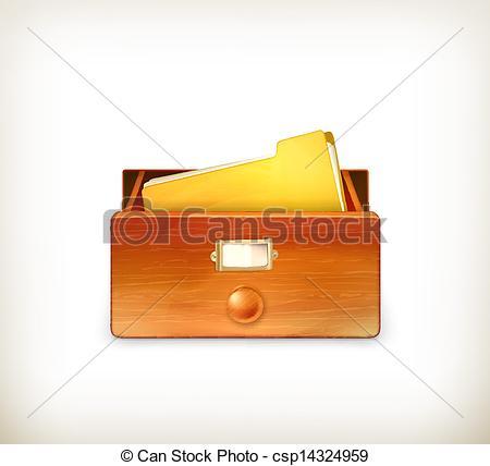 Clipart Vector of Open card catalog, vector csp14324959.
