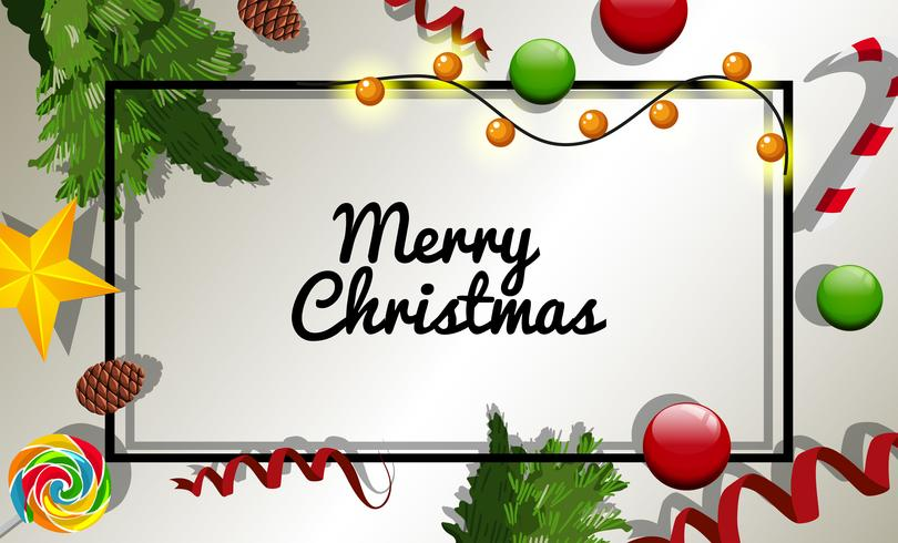 Christmas card template with many christmas ornaments.