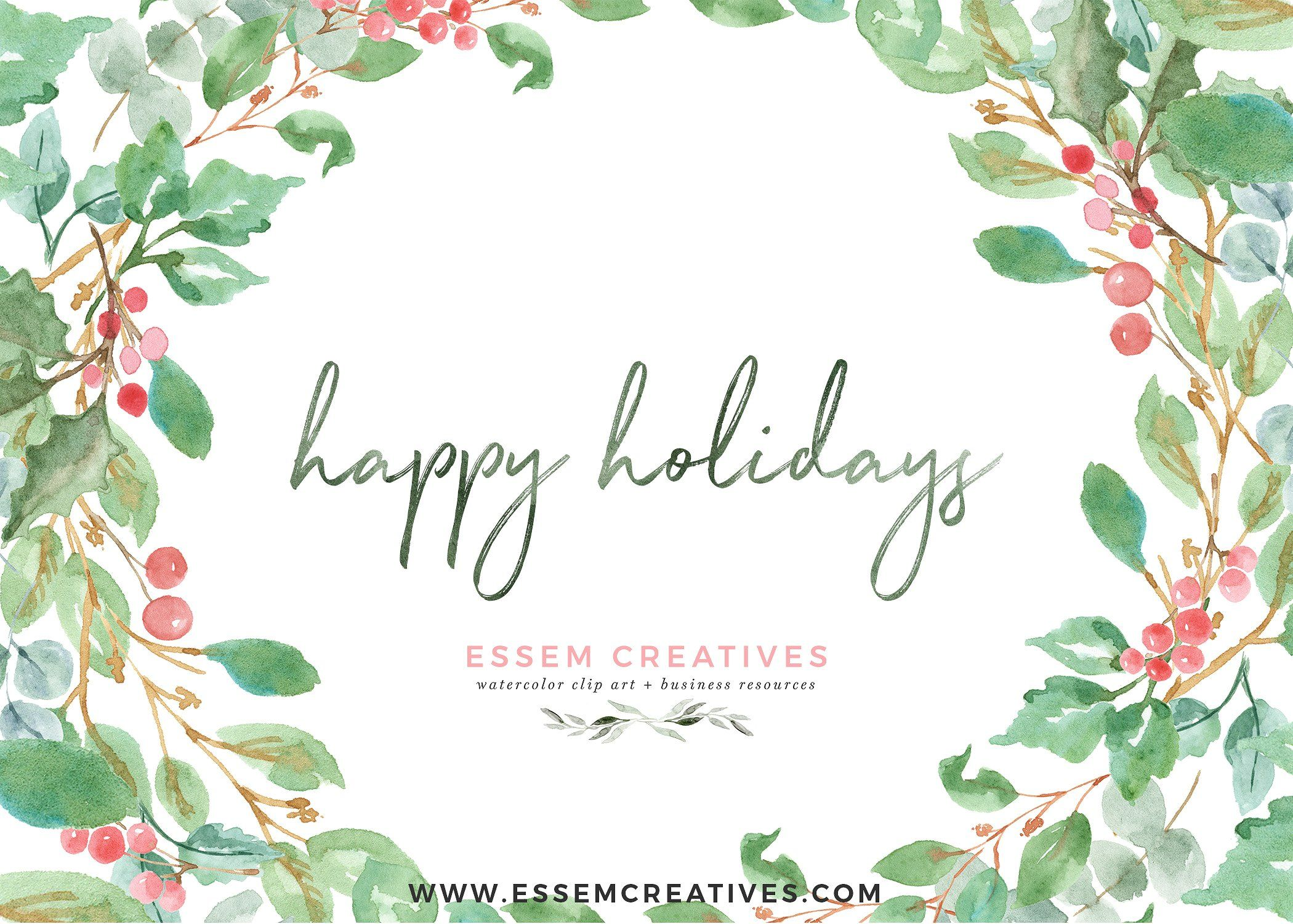 Watercolor Christmas Card Clipart #style#perfect#modern#hand.