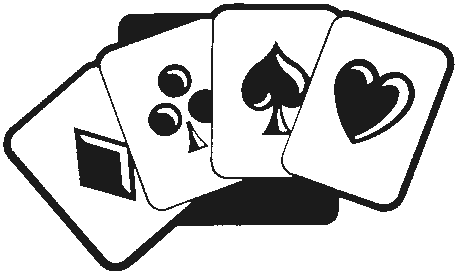 Card game clipart black and white.
