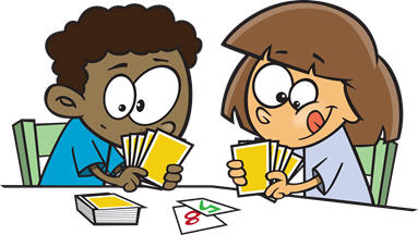 Kids playing card games clipart.