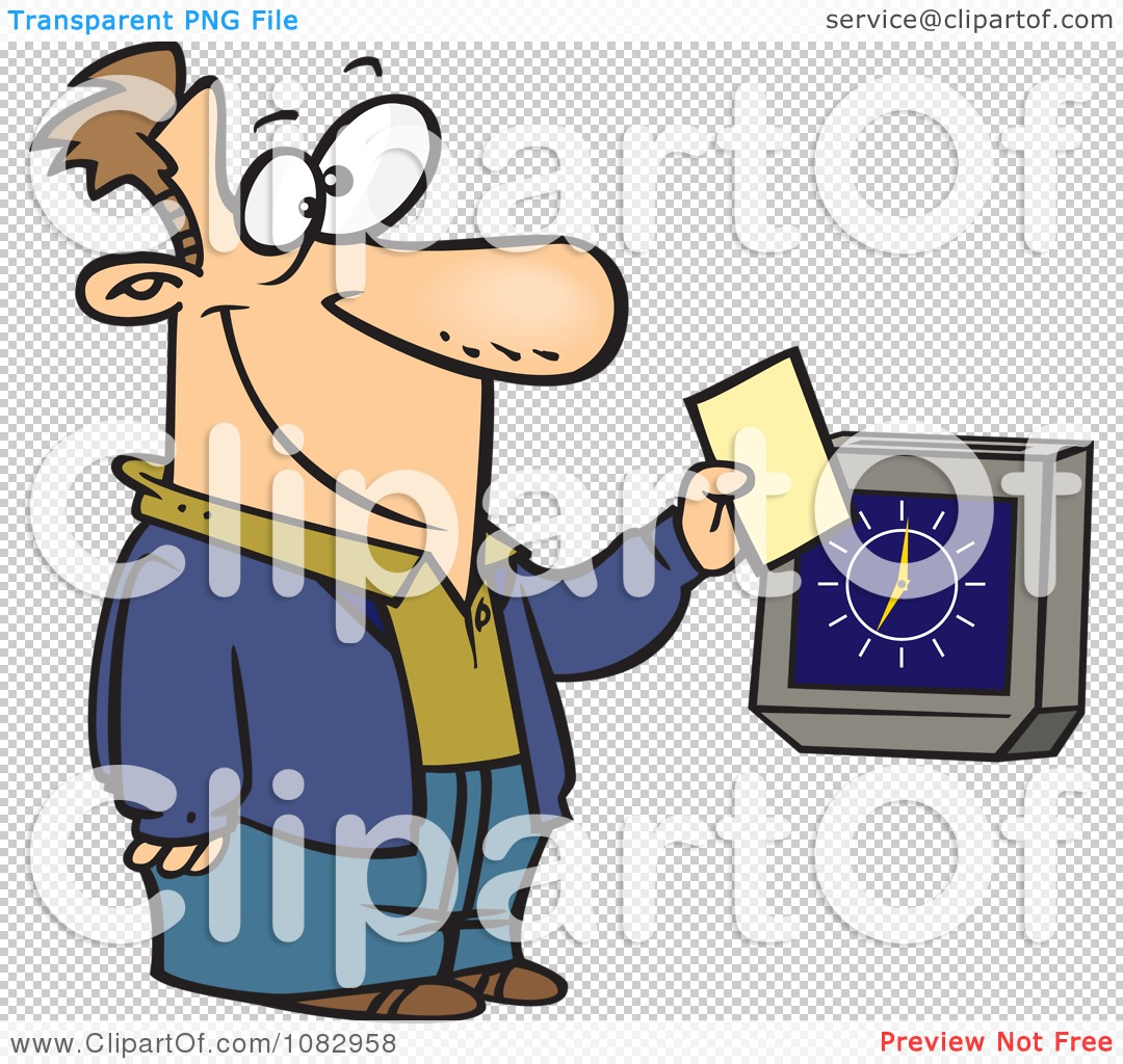 Clipart Worker Punching The Clock.