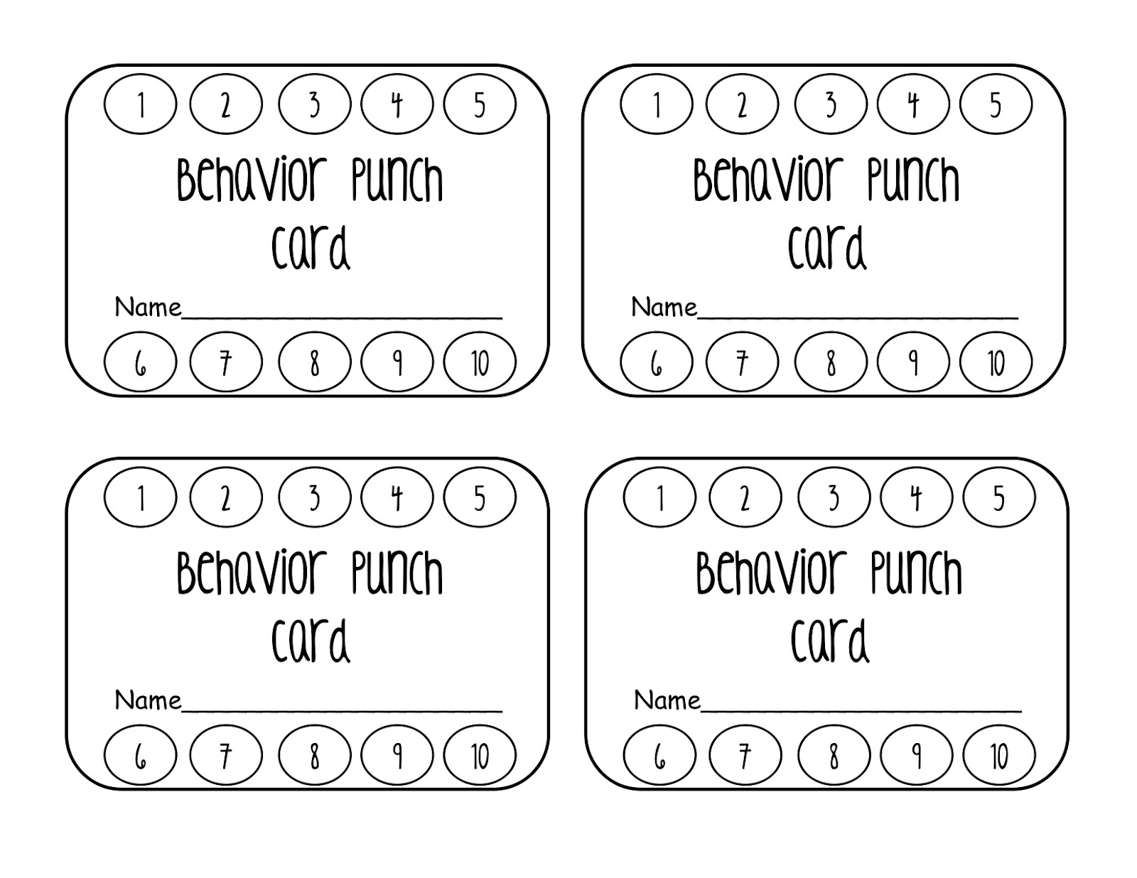 Punch Card Template.