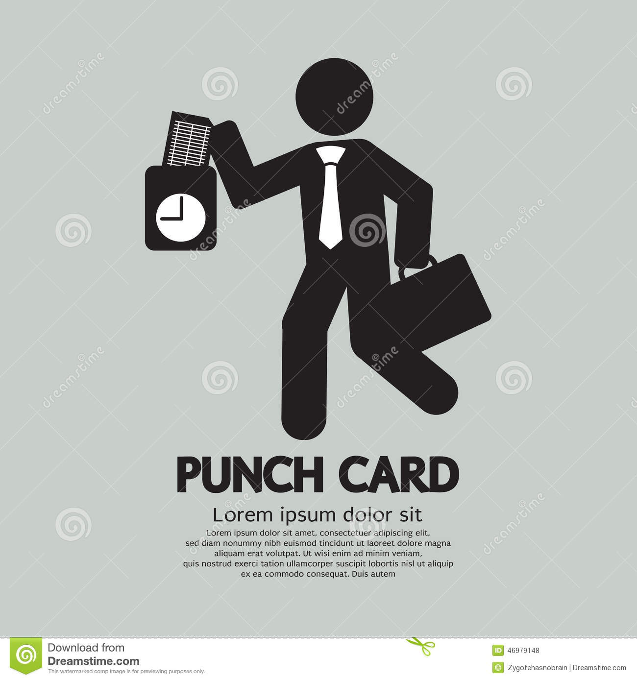 Businessman Using Punch Card For Time Check Stock Vector.