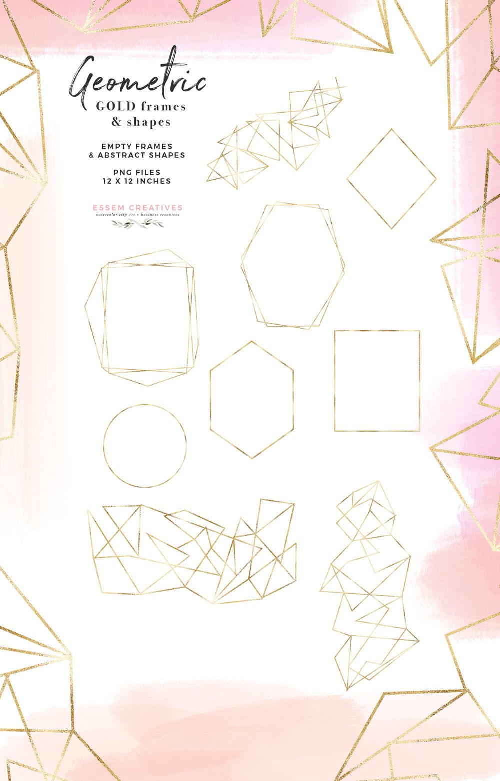Gold Geometric Frames Abstract Border Shapes Clipart in Gold.