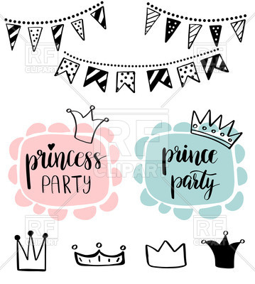 Princess or Prince Party baby shower card design. Birthday girl and boy.  Vector Image.