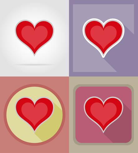 heart card suit casino flat icons vector illustration.