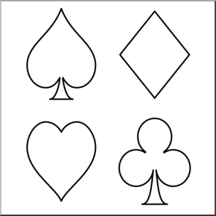 Clip Art: Card Suits Graphic B&W 2 I abcteach.com.