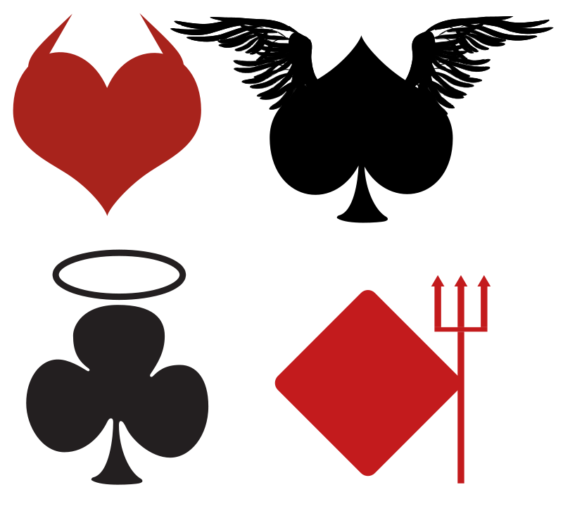 Free Clipart: Card Suits, Angelic or Devilish.