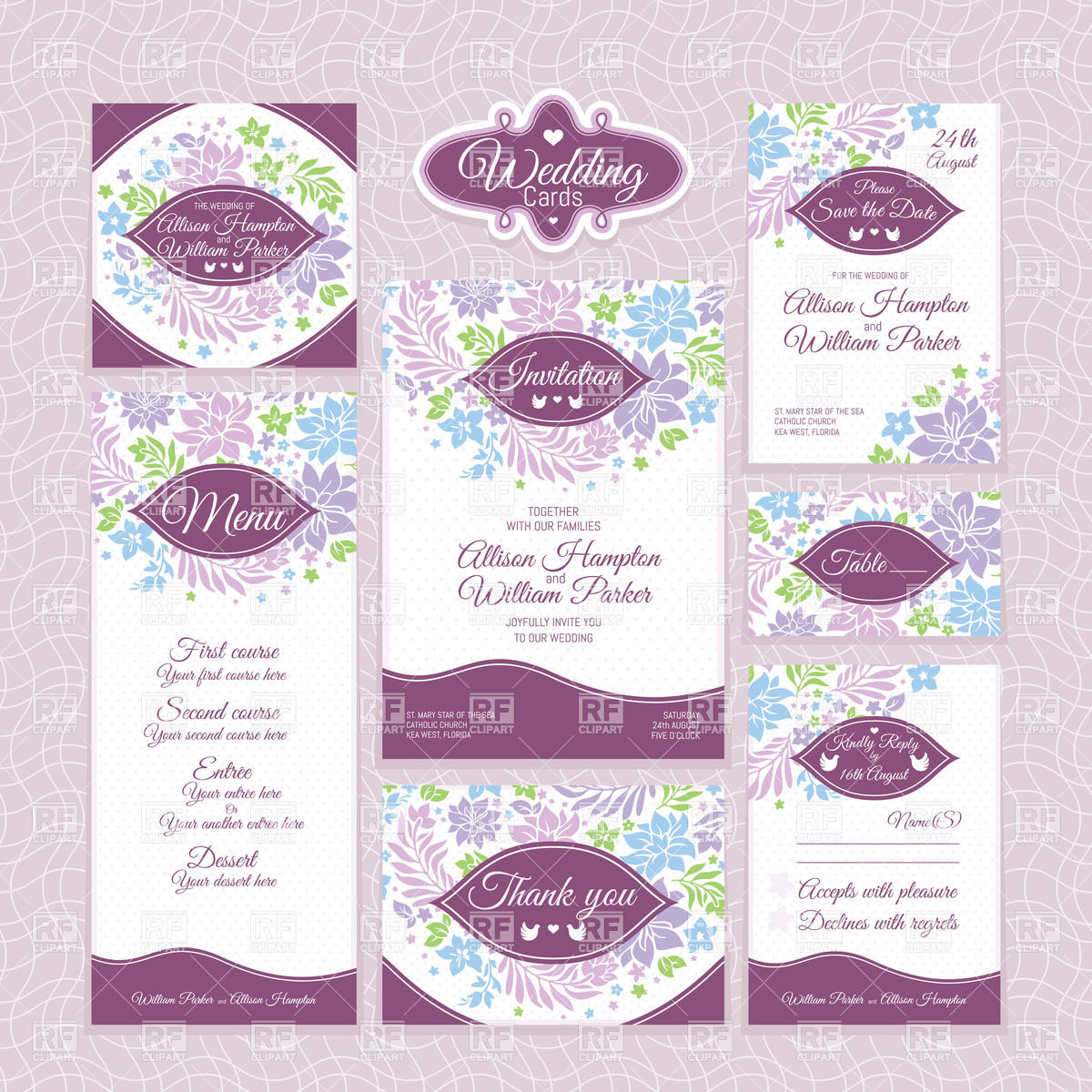 Set of floral wedding invitations, thank you cards, table cards.