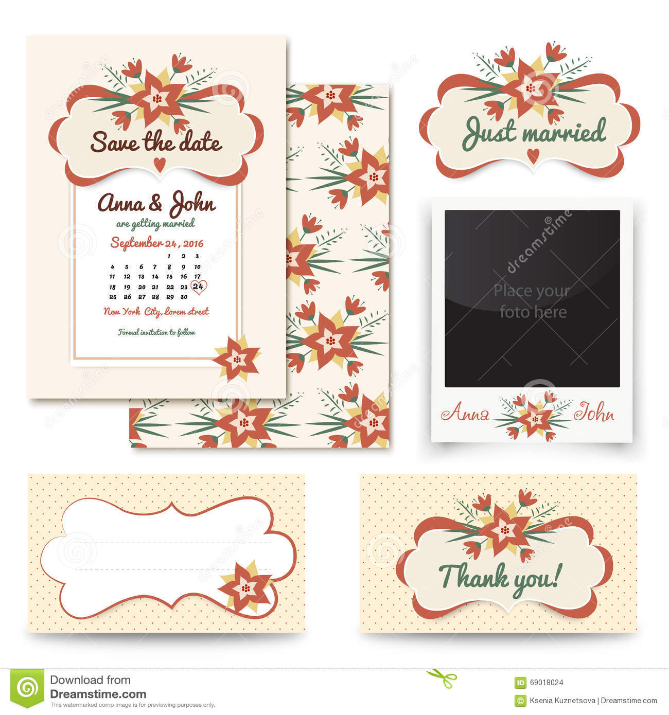 Vintage Wedding Invitation Design Sets Include Invitation Card.