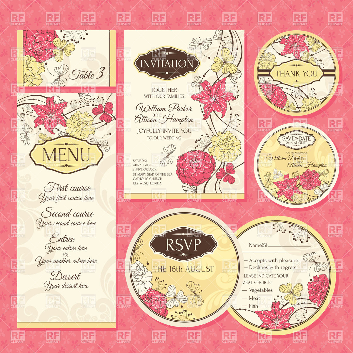 Set of vintage floral wedding cards: invitations, thank you card.