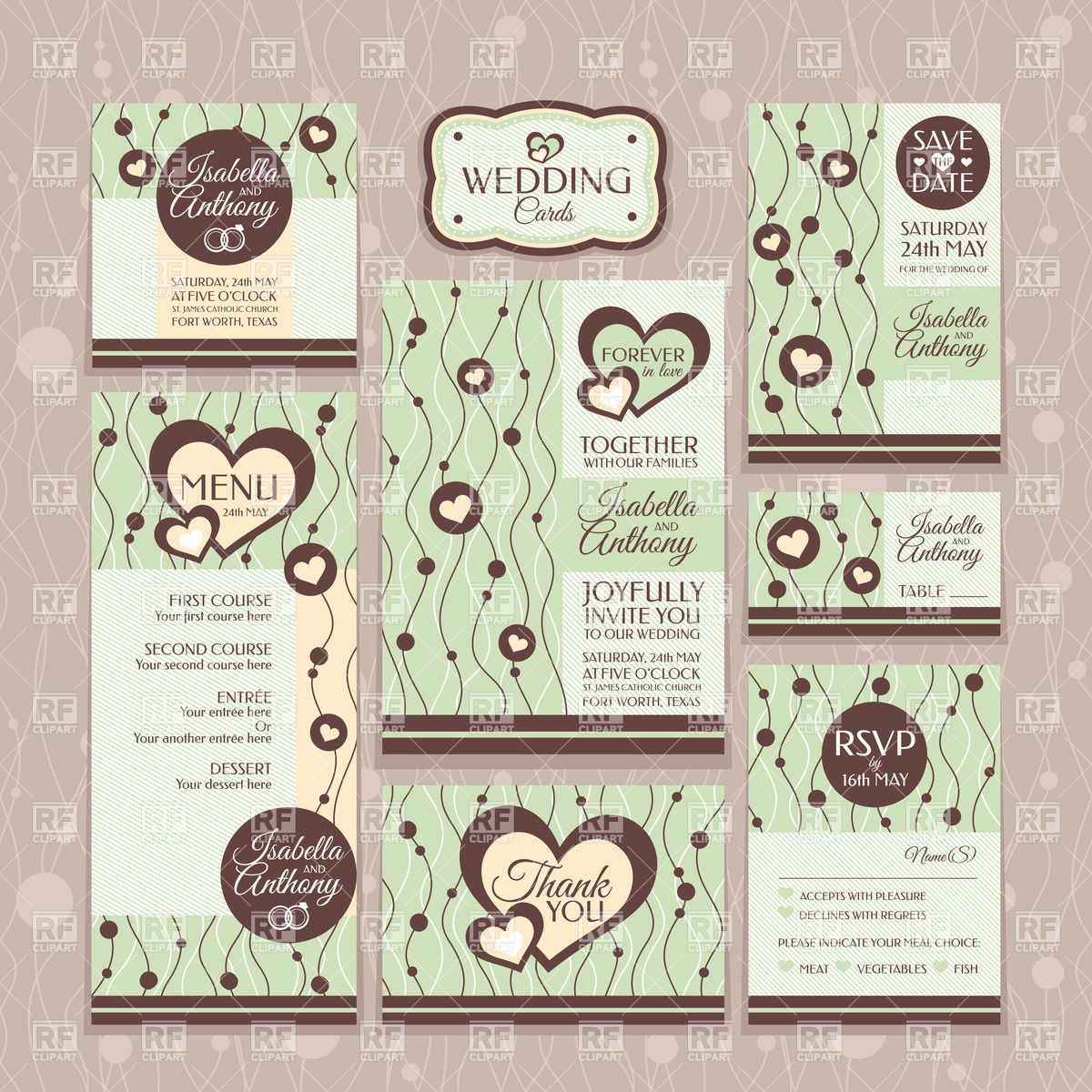 Set of wedding invitations, thank you cards, table card, and menu.