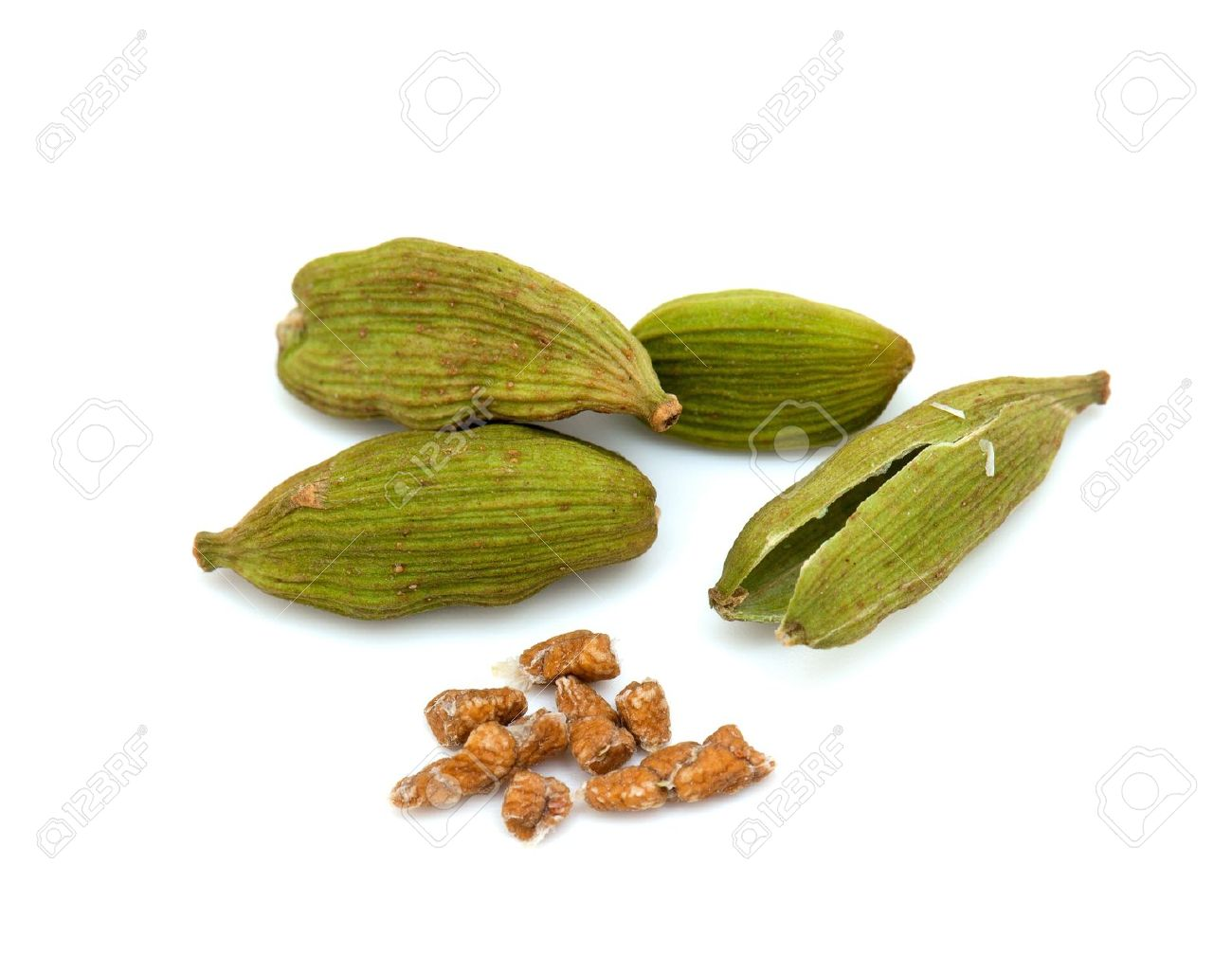 Cardamom Seeds Isolated On White Background Stock Photo, Picture.