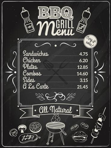 Grill Menu Chalkboard.