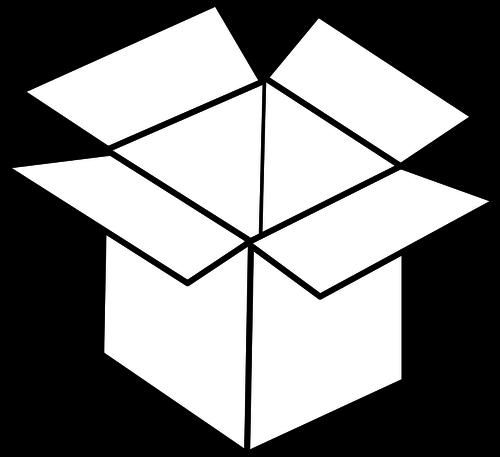 Vector line art image of open cardboard box.