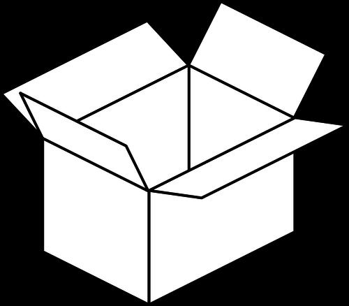 Vector image of cartoon box line art.
