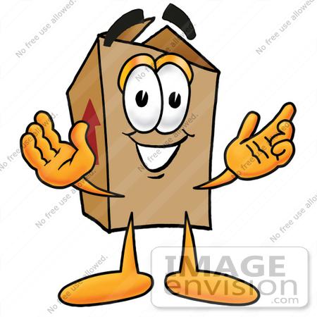 Clip Art Graphic of a Cardboard Shipping Box Cartoon Character.