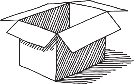 Cardboard box black and white clipart.