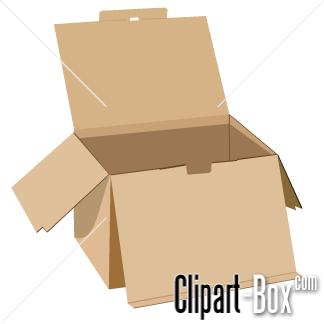 CLIPART CARDBOARD BOX OPEN.
