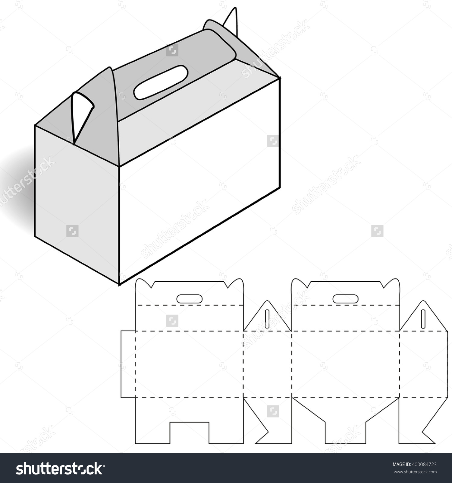 Cardboard Box Cutting Box Handle Stock Vector 400084723.