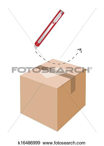 Clip Art of Correct Cutting Procedure to Open A Cardboard Box.