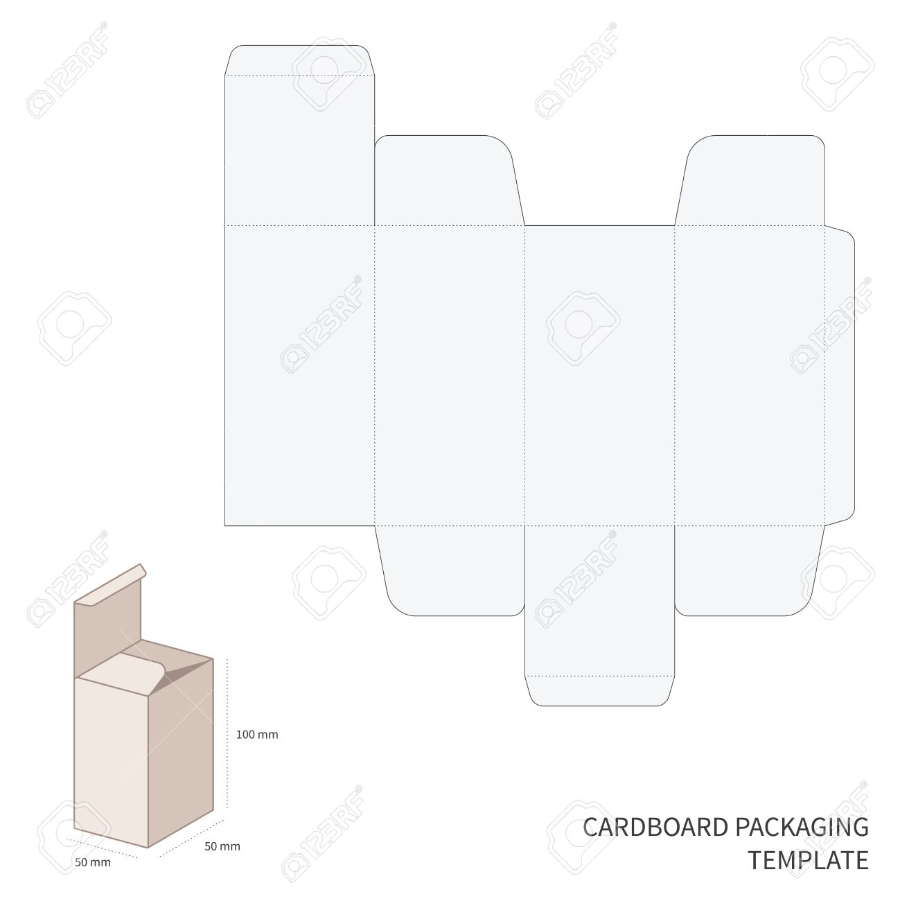 Vector Cardboard Packaging Template With Cutting And Bending.