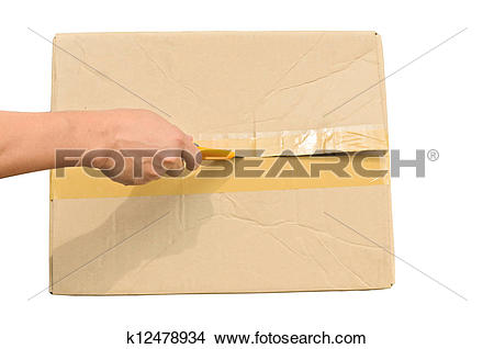 Stock Photo of Top veiw of hand holding cutter opening cardboard.