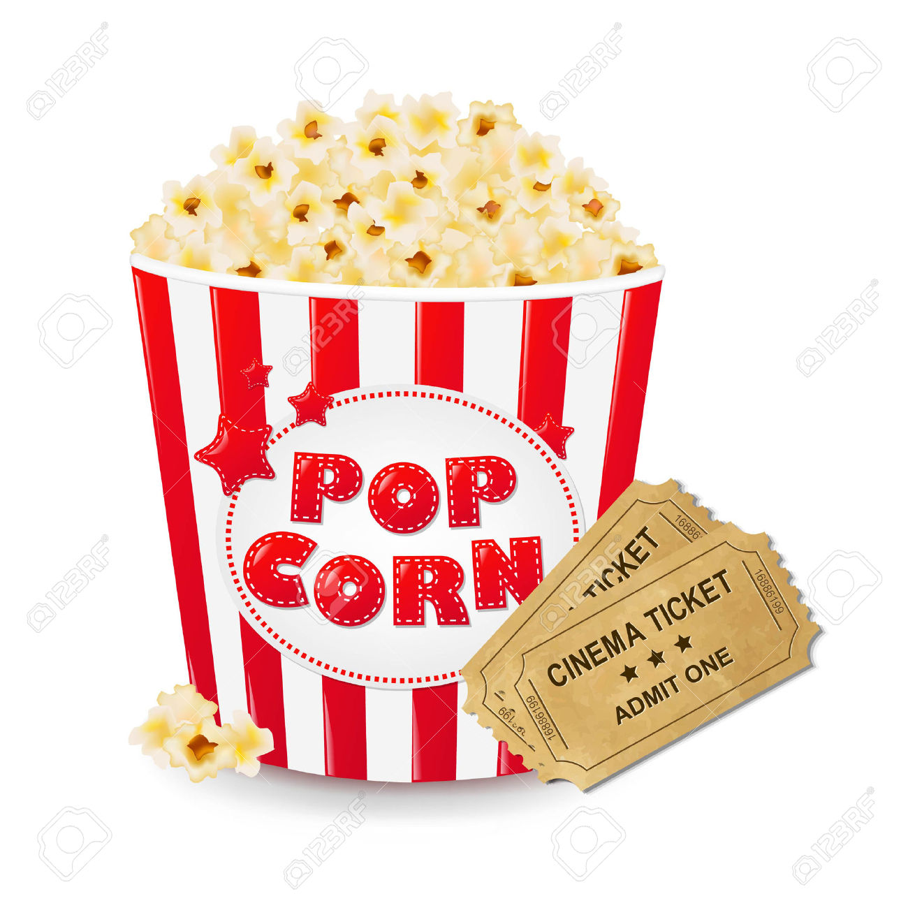 Popcorn In Cardboard Box With Ticket Cinema With Gradient Mesh.