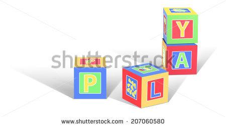 Kids Wooden Blocks Spelling End Symbol Stock Illustration 90951950.
