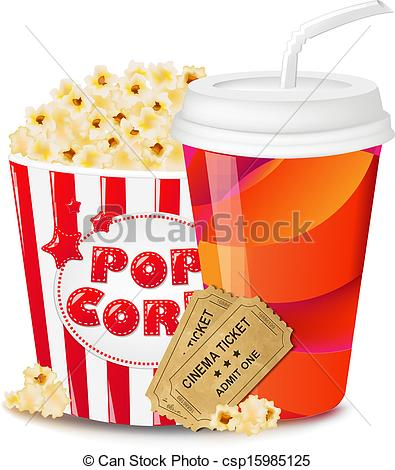 Vector Illustration of Popcorn In Cardboard Box With Tickets.