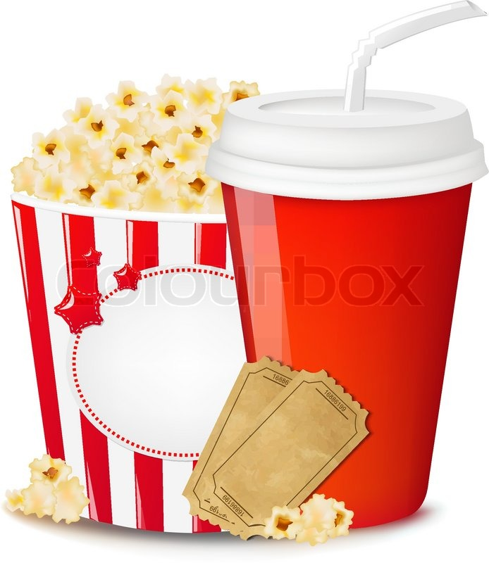Popcorn In Cardboard Box With Tickets Cinema And Paper Glass With.