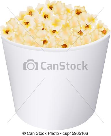 Clip Art Vector of Popcorn In White Cardboard Box With Gradient.
