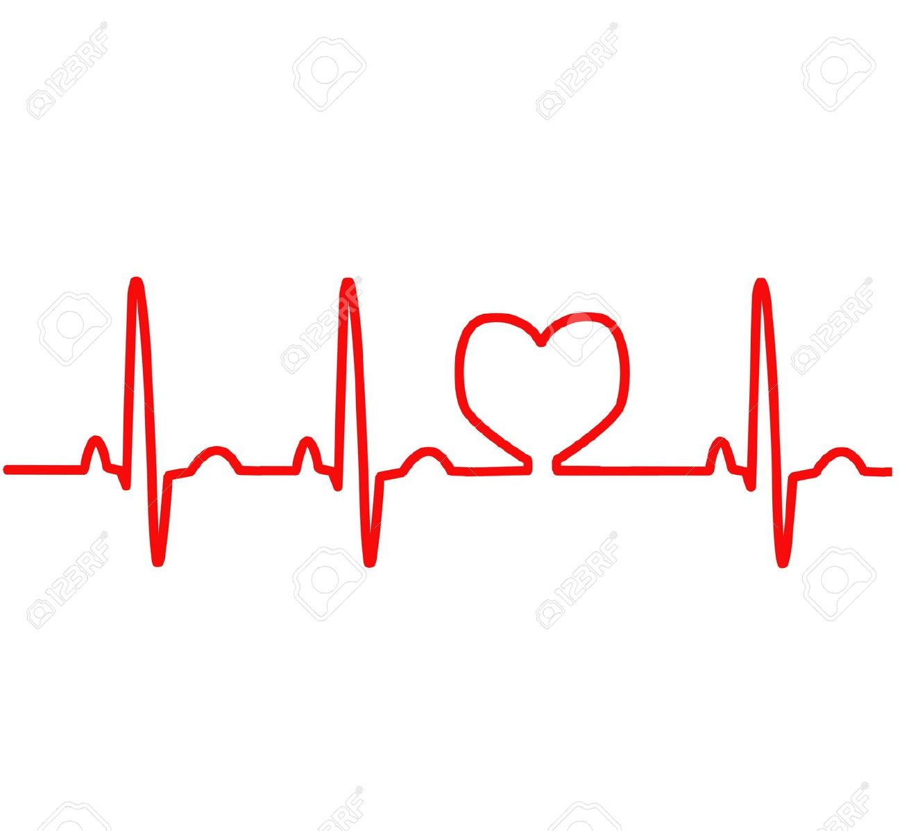 Clipart heart with ekg.