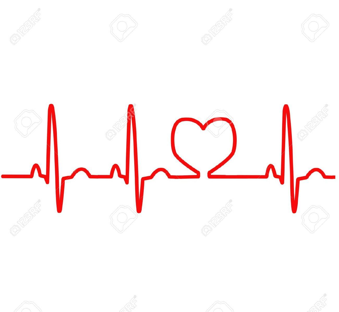 Clipart heart with ekg.