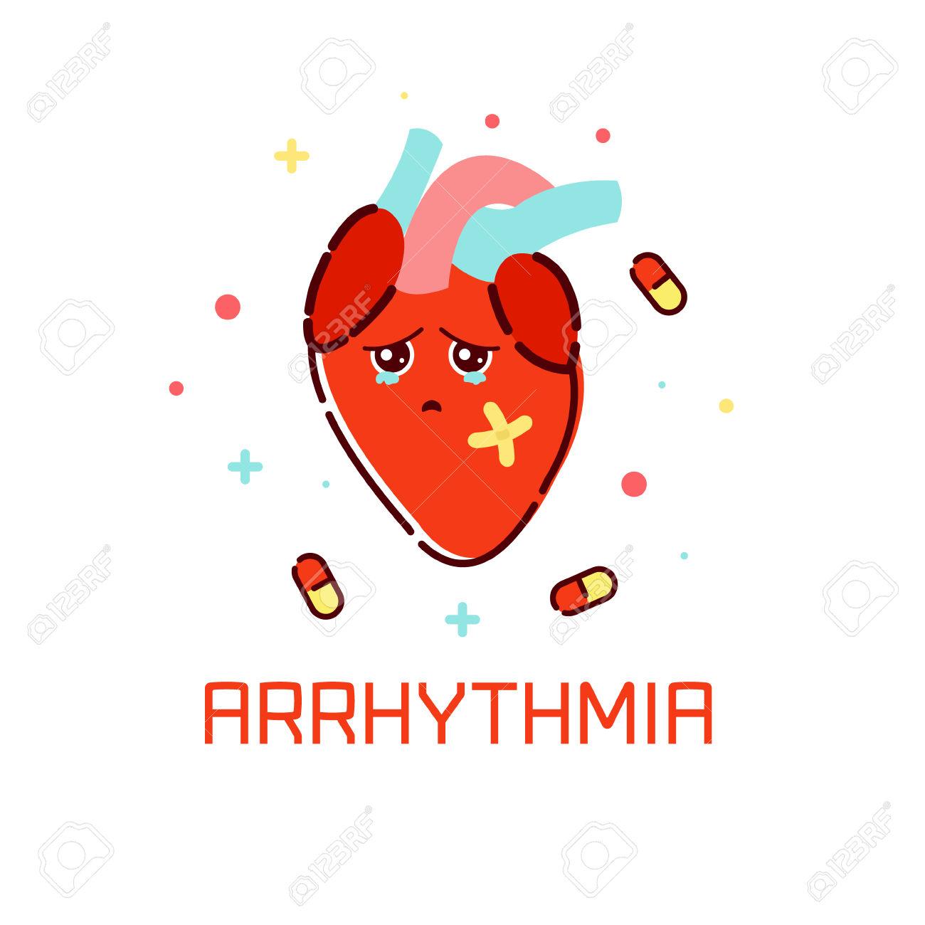 Cardiac Arrhythmia Disease Awareness Poster With Sad Cartoon.