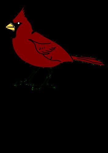Cardinal bird in red color clip art.
