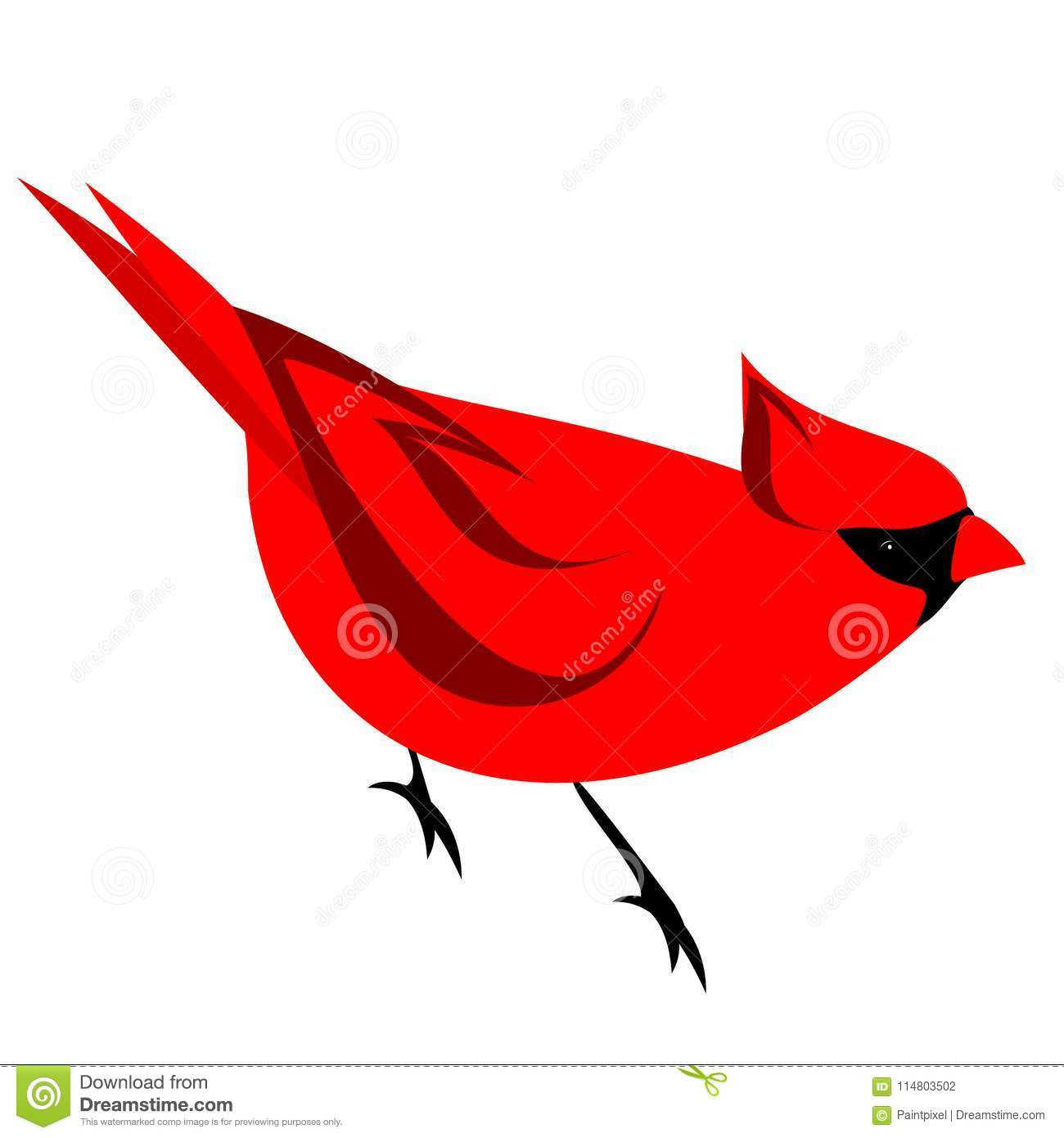 Red Northern Cardinal Bird Clipart Stock Vector.