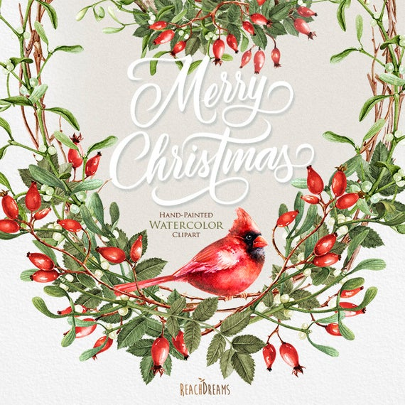 Watercolor Christmas Clipart, Mistletoe, Briar, Red Cardinal, Holiday hand  painted decoration. Invitations, Merry Christmas, Greeting card.