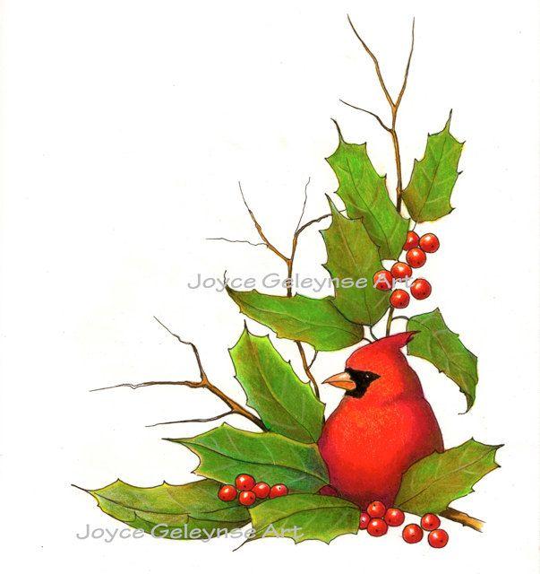 Clip Art Christmas Border With Cardinal Bird And Holly. $2.50, via.