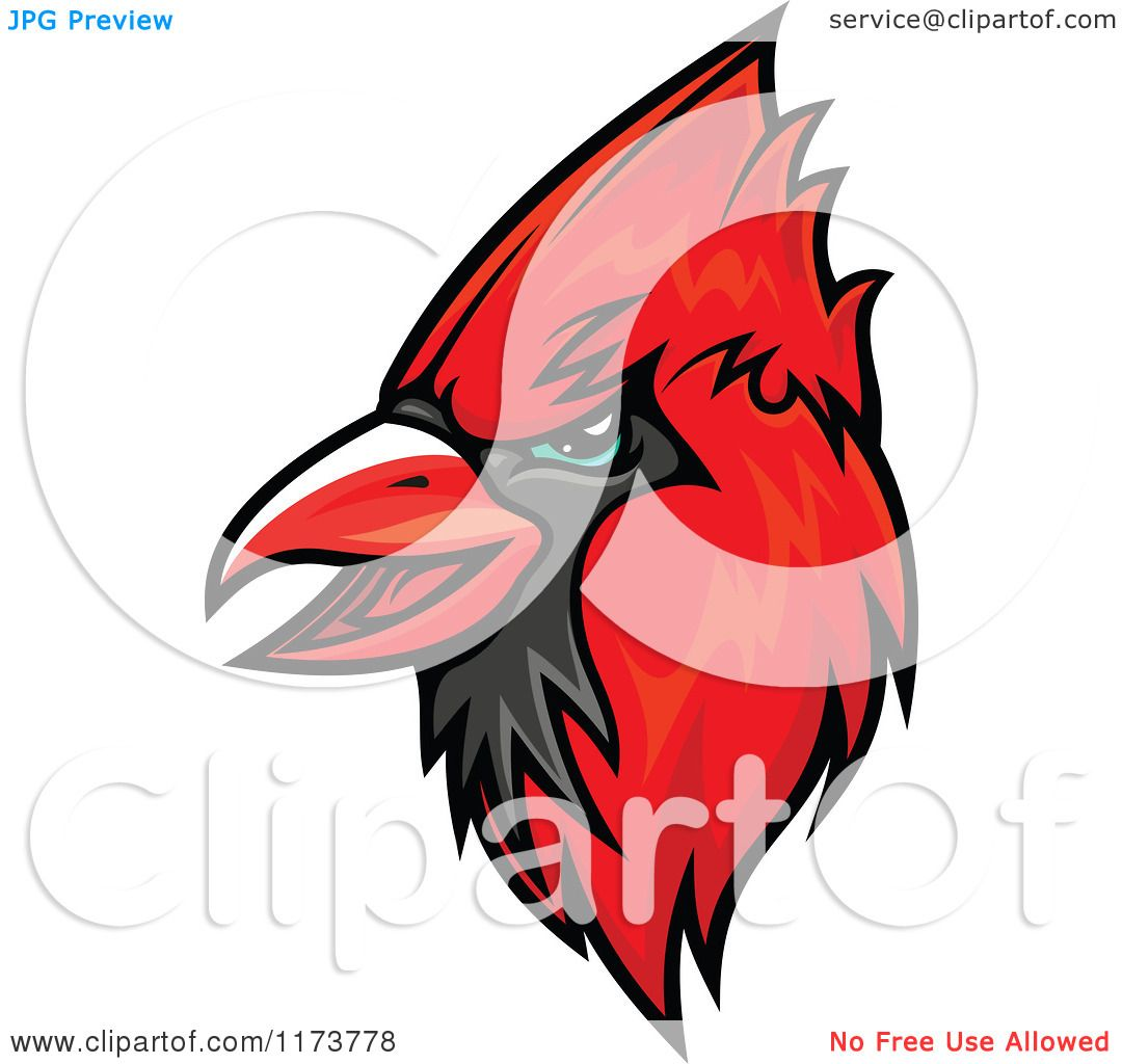 Clipart of a Red Cardinal Head 2.