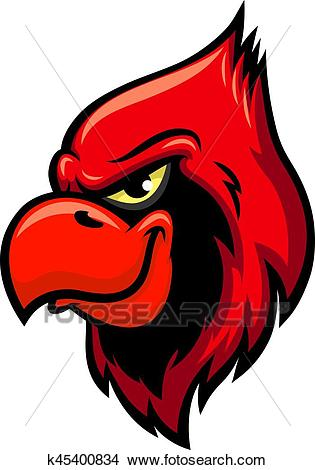 Cardinal red bird head vector icon Clipart.