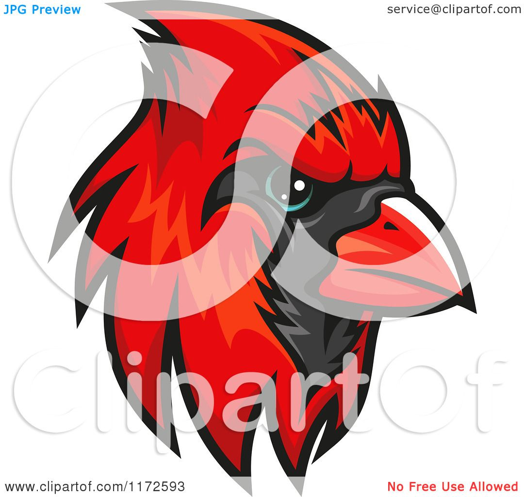 Clipart of a Red Cardinal Head.
