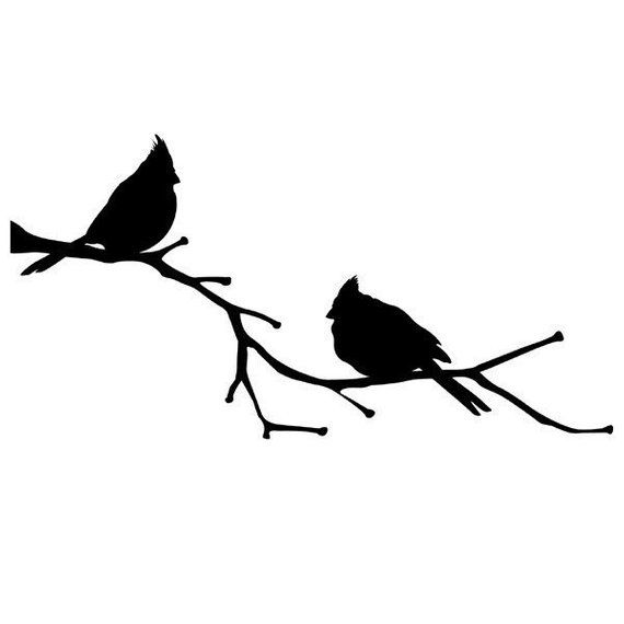 Cardinal Birds on a Branch, vinyl wall decal, Cardinal Decor, State.