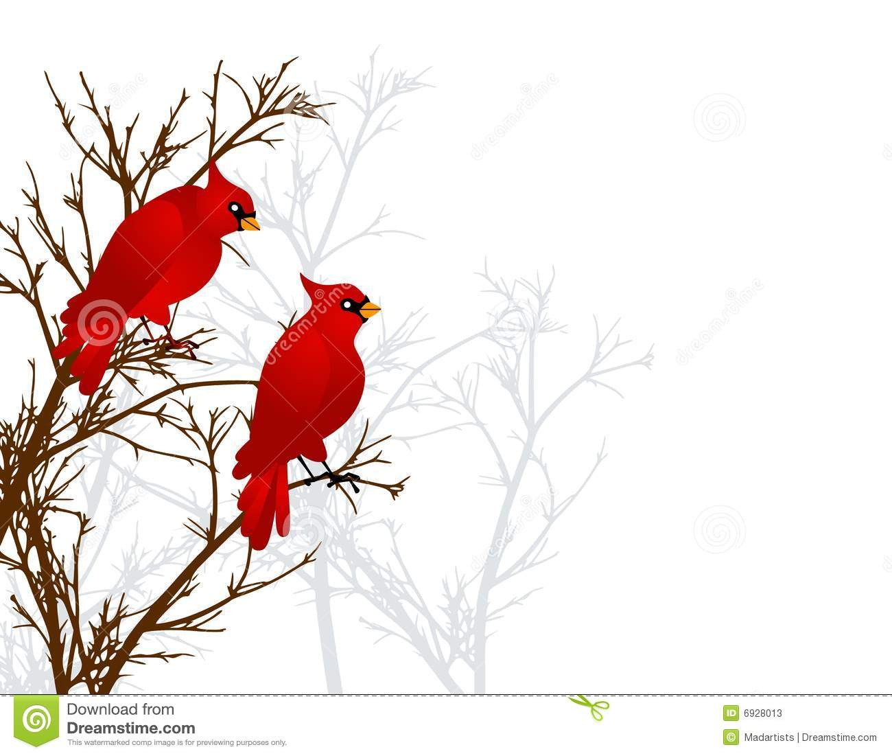 Red Cardinals Sitting In Tree Stock Illustration.