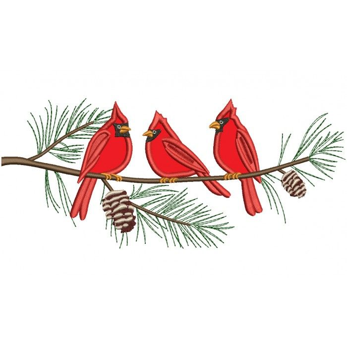 Three Cardinal Birds on a Tree Branch Applique Machine Embroidery.