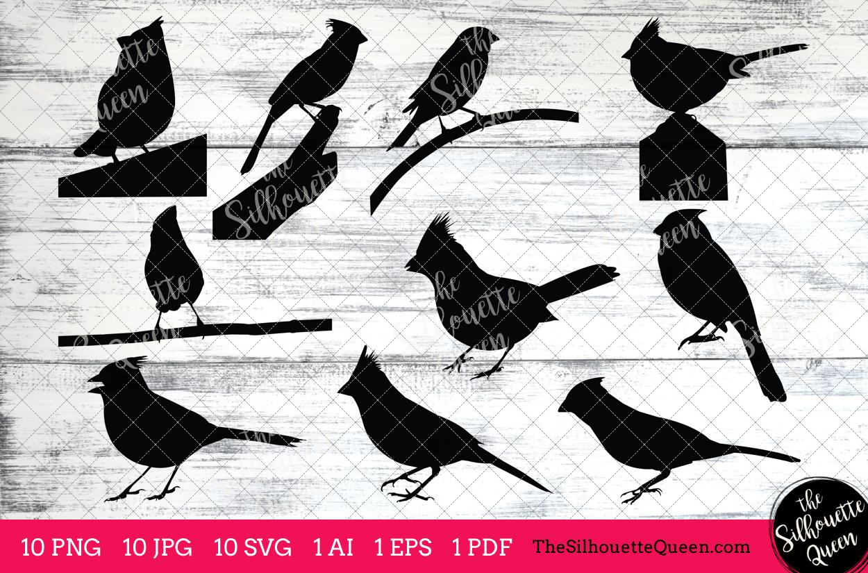 Cardinal Silhouettes Clipart Clip Art(AI, EPS, SVGs, JPGs, PNGs, PDF),  Cardinal Clip Art Clipart Vectors.