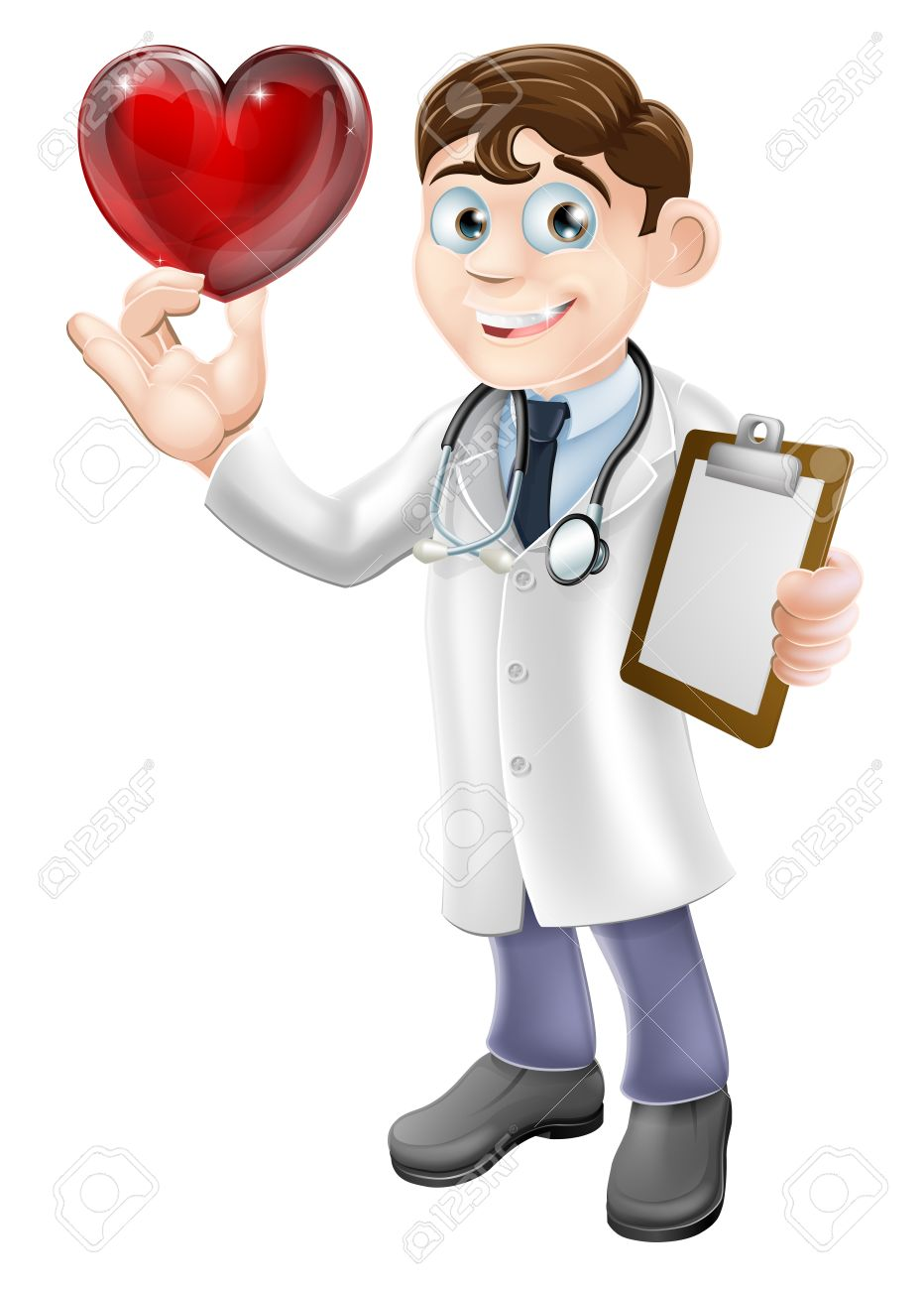 Cartoon illustration of a young doctor holding a heart shaped...
